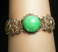 Vintage PEKING glass Bracelet Chinese silver filigree Oriental relief antique - $125.00