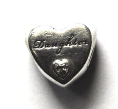 Pandora Sterling Silver Daughter Heart Charm Bead Love Pink CZ 11mm - $19.79