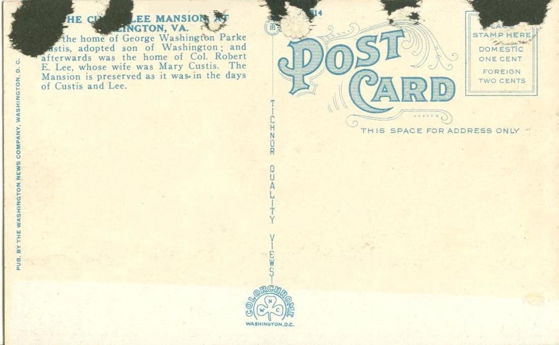 Custis-Lee Mansion, Arlington, VA, 1920s unused Postcard