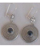 Oriental silver onyx earrings  - $24.00