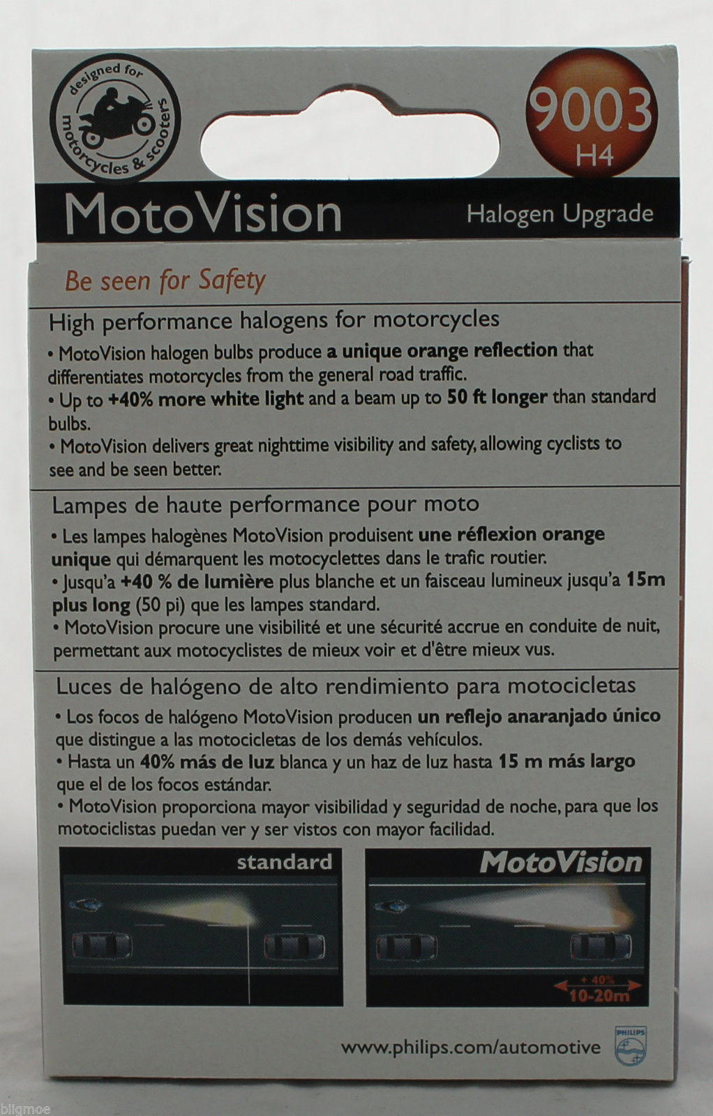 PHILIPS MOTOVISION 9003//HB2//H4 Low//High Beam Headlight 40/% More Light 2 PACK