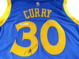 STEPHEN CURRY / AUTOGRAPHED G.S. WARRIORS BLUE SWINGMAN JERSEY / PSA/DNA & JSA image 3