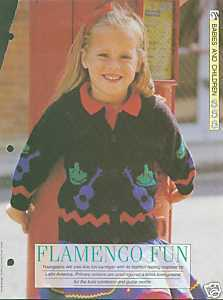 Knitting pattern for girls cardigan with flamenco theme Bonanza