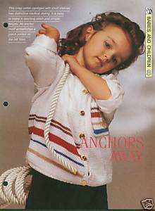 Knitting pattern for childs Nautical style cardigan Bonanza