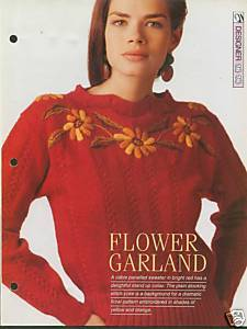 Knitting pattern for ladies cable panel sweater with stand up collar & embroider Unbranded