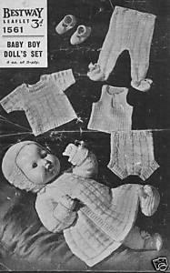 Vintage Knitting pattern for baby boy doll or reborn. Bestway 1561. PDF Bestway