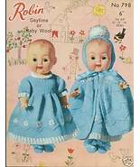 "Knitting pattern for Dolls outfits 10"" -14"" Robin 798. PDF - $2.15"