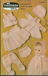 "Primary image for Knitting pattern for dolls 6 piece outfit 10 -12"" dolls"