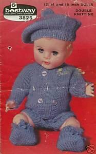 Vintage knitting pattern for boy dolls/reborns. Bestway 3825. PDF Bestway