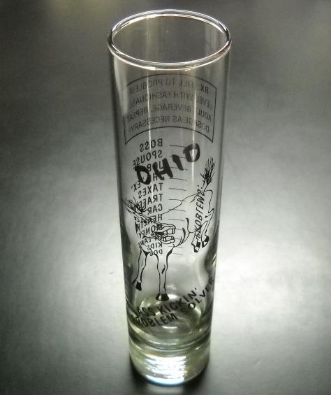 shooter is 4 inches tall Alaska tall Shotglass Blue Moose on Black Shot glass