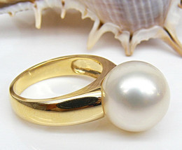 Genuine 11mm South Sea White Pearls Solid 14K Yellow Gold Solitaire Ring... - $605.67