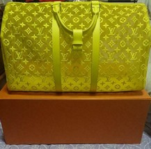 Louis Vuitton Keepall 50 Travel Bag M55380 Yellow See through Bandouliere Auth  - $5,829.70