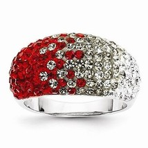 STERLING SILVER OHIO STATE  COLORS SPIRIT RING SWAROVSKI CRYSTALS - SIZE 8 - $84.67