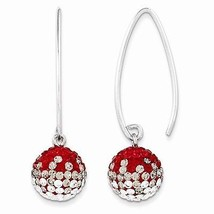 STERLING SILVER SWAROVSKI CRYSTAL OHIO STATE COLORS  THREADER DANGLE EAR... - $64.21