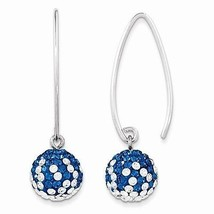 STERLING SILVER DUKE BLUE DEVIL COLORS SWAROVSKI CRYSTAL DANGLE EARRINGS - $71.34