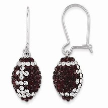 STERLING SILVER MISSISSIPPI STATE COLORS SWAROVSKI CRYSTAL FOOTBALL EARR... - $92.23