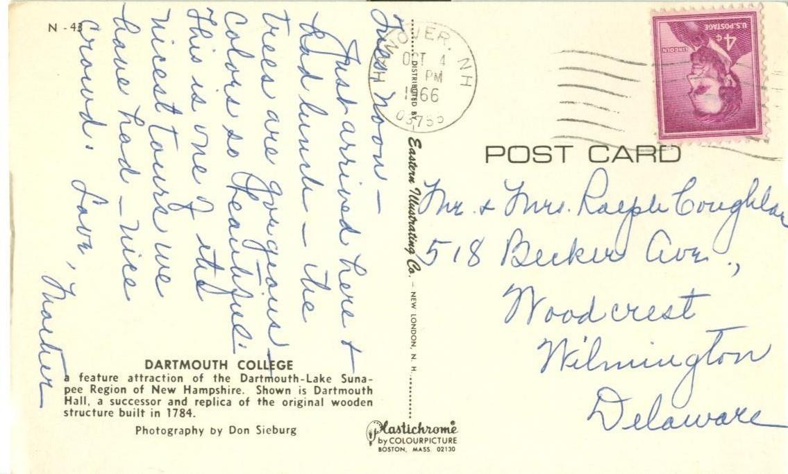 Dartmouth College, New-Hampshire, 1966 used Postcard