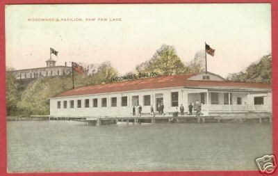 Primary image for Paw Paw MI Postcard Woodward Pavilion People 1911 BJs