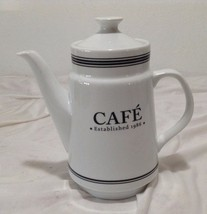 """White and Black Pottery Barn Cafe Coffee Carafe Pitcher """"Coffee House"""" - $9.90"""