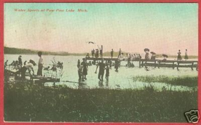 Primary image for Paw Paw Lale MI Postcard Swimmers People Dock BJs