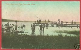 Paw Paw Lale MI Postcard Swimmers People Dock BJs - $10.00