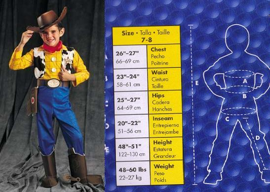 WOODY TOY STORY CHILDS COSTUME 7-8