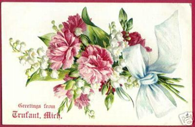 TRUFANT MICHIGAN Floral Greetings 1907 MI Postcard