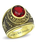 MEN'S GOLD TONE STAINLESS STEEL RED CZ USA MARINE MILITARY SOLDIER RING ... - $16.19