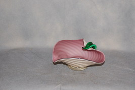 Murano Glass Mauve Bowl Green Applied Leaf White Gold Exterior Applied Foot - $65.00