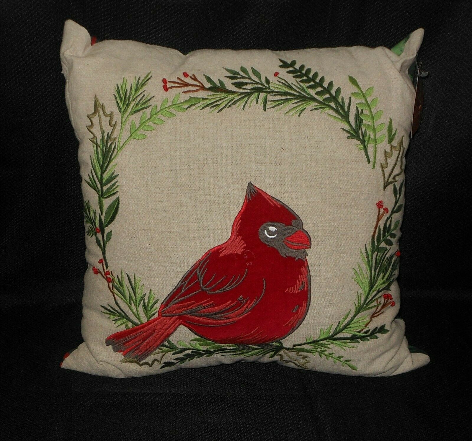 St Nicholas Christmas Embroidered Cardinal Wool Throw Pillow NWT FREE SHIPPING - $44.54