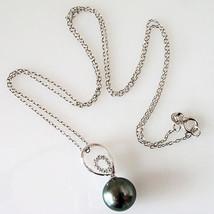 "Radiance 10.5mm Black Tahitian South Sea Pearl & Diamond Pendant Necklace 18"" image 3"