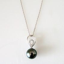 "Radiance 10.5mm Black Tahitian South Sea Pearl & Diamond Pendant Necklace 18"" image 2"