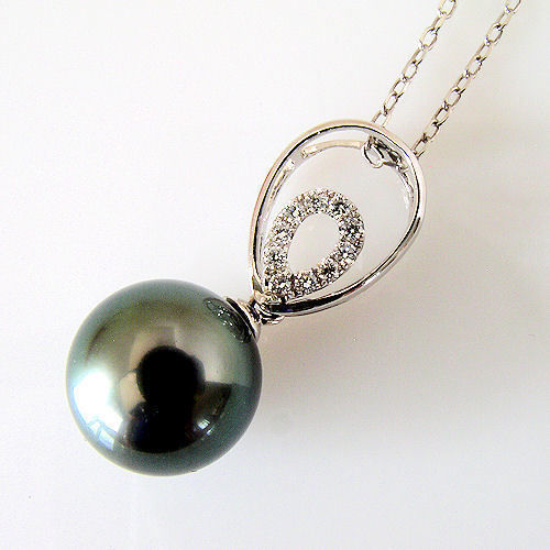 "Radiance 10.5mm Black Tahitian South Sea Pearl & Diamond Pendant Necklace 18"" image 4"