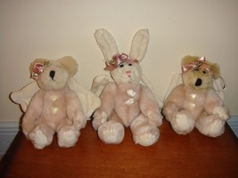 Boyds Bears 3 Pink Plush Ornaments - $18.99