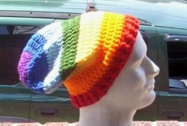 Hand Crochet UNISEX Slouchy Beanie Hat Rainbow ... - $30.00