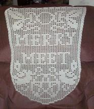 Hand Crochet Witchy Ecru Merry Meet Flag Wall H... - $50.00