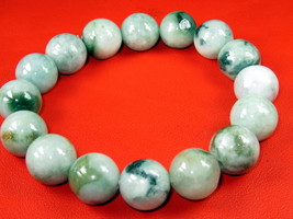 Real Bracelet Green Jade Flexible to All Rare Lucky Charm Thai Buddha Amulets - $12.99