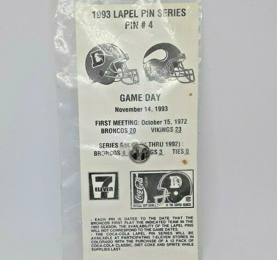 Classic 1993 NFL Football Lapel Hat Pin - Denver Broncos vs Minnesota Vikings