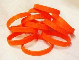 MS Multiple Sclerosis Lot of 50 Orange Awareness Bracelets Silicone Wristbands  - $42.97