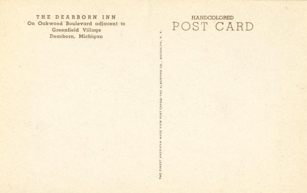 The Dearborn Inn, Dearborn, Michigan, 1930s unused Postcard