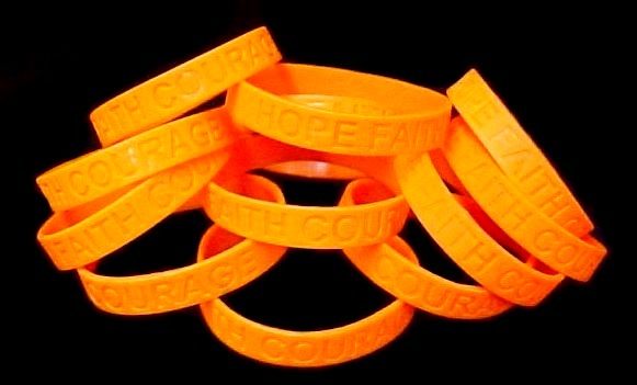 RSDS Lot of 50 Orange Awareness Bracelets Silicone Wristband Cancer Cause New