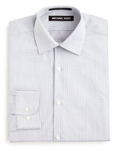 Michael Kors Boys' Small Open Check Button Down Shirt, Gray Multi, Size 18R - $24.74