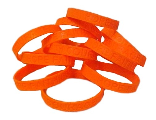 Skin Cancer Lot of 50 Orange Awareness Bracelets Silicone Cause Wristbands New