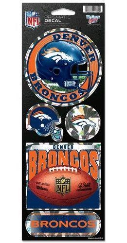 DENVER BRONCOS PRISMATIC HOLOGRAPH STICKER DECAL SHEET OF 5 NFL FOOTBALL