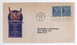 1939 5c Presidential Prexie Coil Stamp Scott #845 LINE PAIR First Day Co... - $5.93