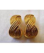 Napier  Gold Tone Metal Half Moon Braid Rope style earrings - $34.65