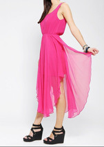 Urban Outfitters Fuchsia Luxe Silk Chiffon Lattice Back Dress by Renn MS... - £37.59 GBP