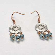 925 Silver Earrings Laminate Rose Gold with aquamarines Faceted image 5