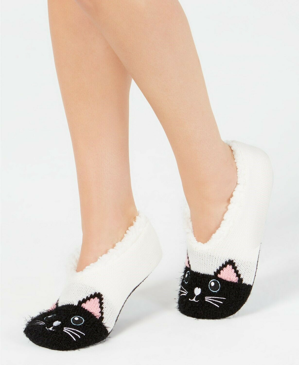 Charter Club Womens Cat Slipper Socks Ivory S/M - NWT