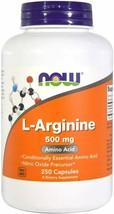 NOW L-Arginine 500 mg,Amino Acid 250 Capsules  EXP 11/23 - $12.37